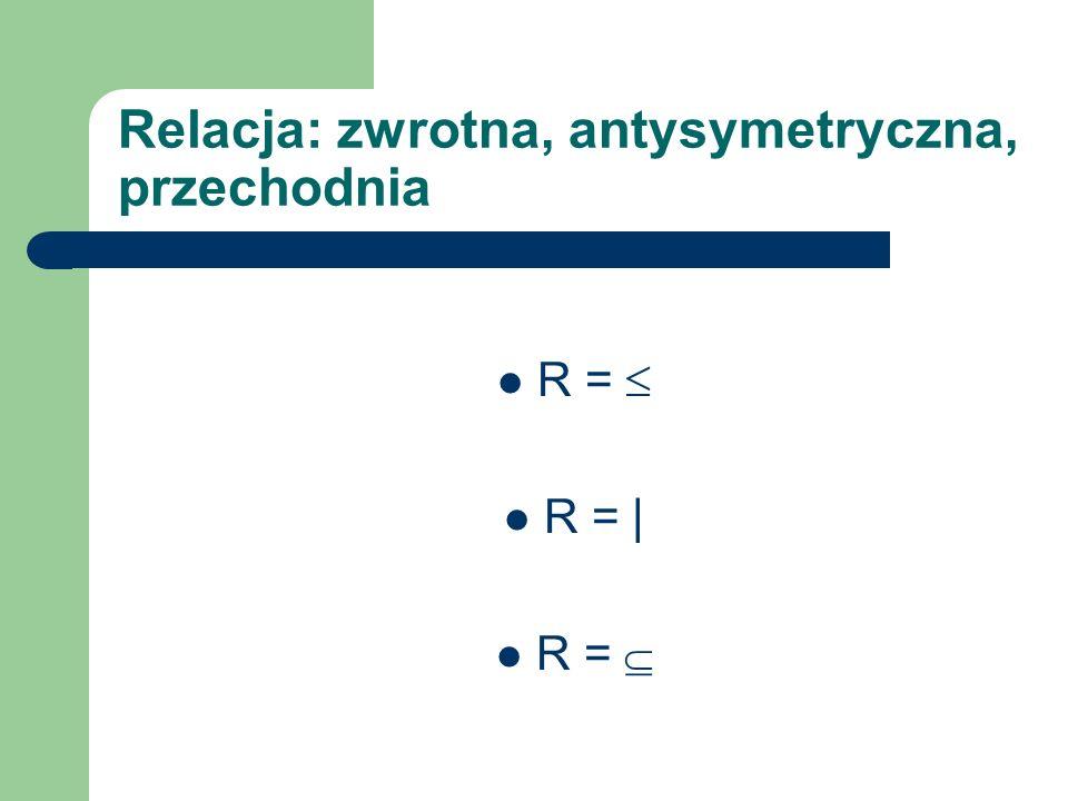 Relacja: zwrotna, antysymetryczna, przechodnia R = R = | R =