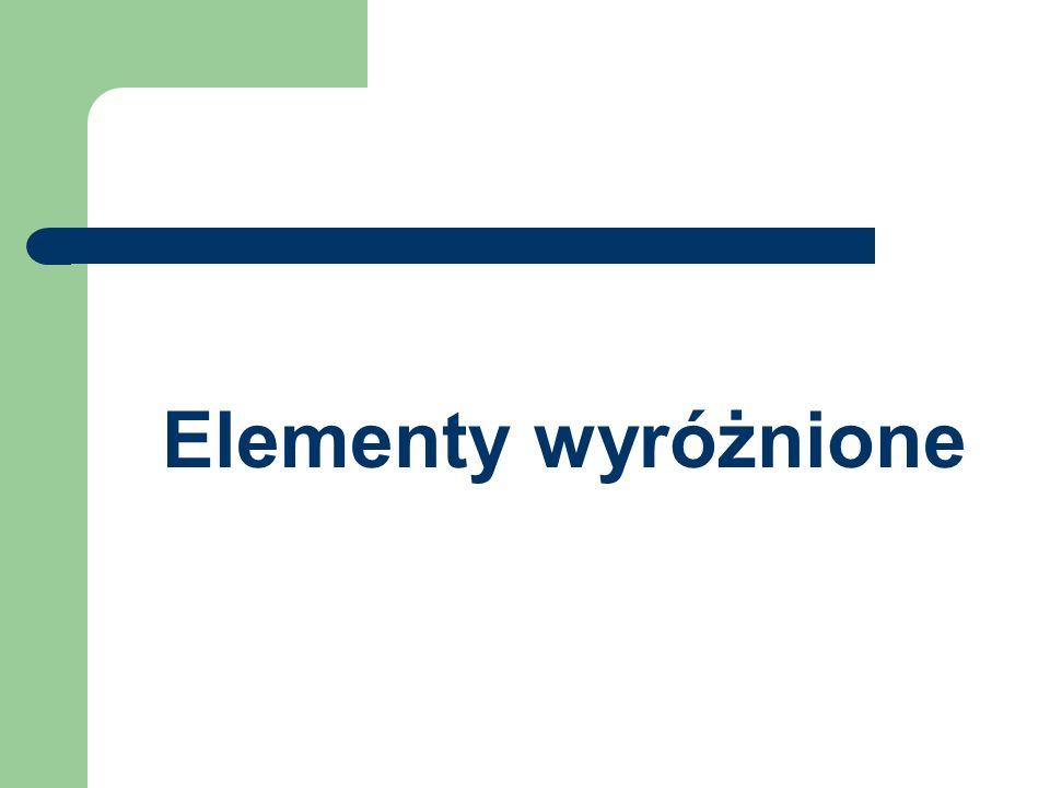 Elementy wyróżnione