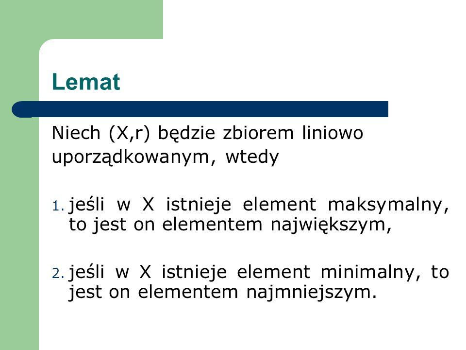 Lemat Niech (X,r) będzie zbiorem liniowo uporządkowanym, wtedy 1. jeśli w X istnieje element maksymalny, to jest on elementem największym, 2. jeśli w