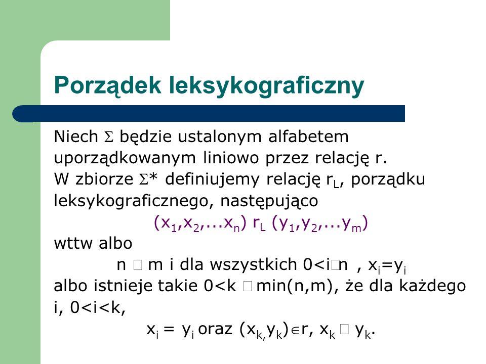 Porządek leksykograficzny Niech będzie ustalonym alfabetem uporządkowanym liniowo przez relację r. W zbiorze * definiujemy relację r L, porządku leksy