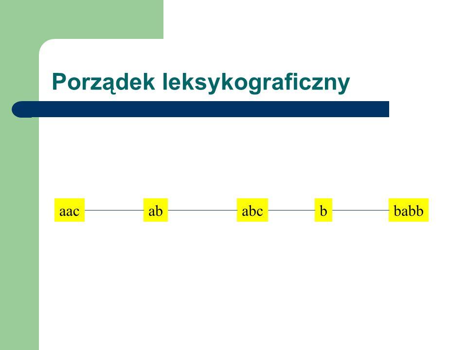 abcbbabbaacab Porządek leksykograficzny