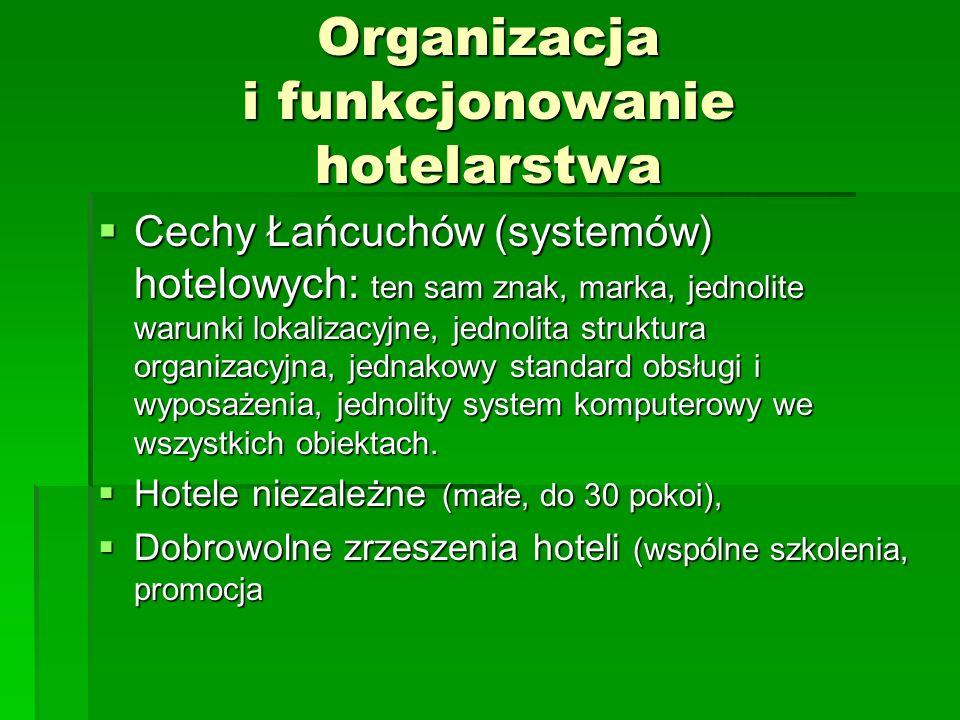 Organizacja i funkcjonowanie hotelarstwa Cechy Łańcuchów (systemów) hotelowych: ten sam znak, marka, jednolite warunki lokalizacyjne, jednolita strukt