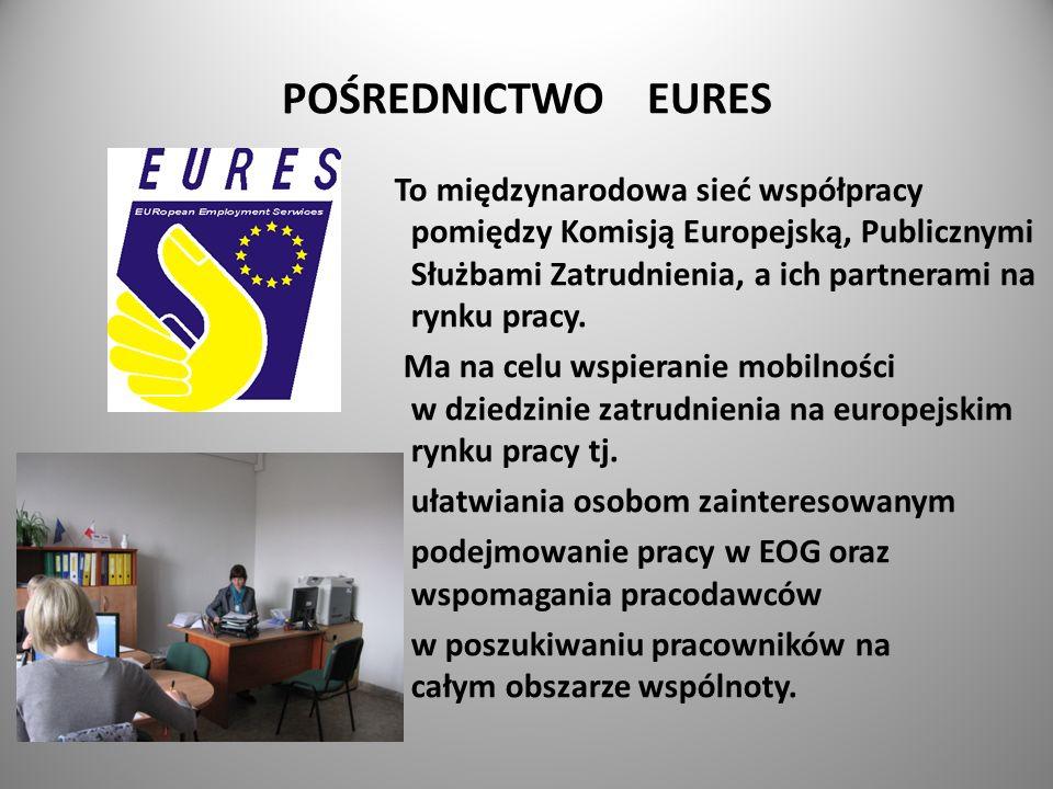 POŚREDNICTWO EURES To międzynarodowa sieć współpracy pomiędzy Komisją Europejską, Publicznymi Służbami Zatrudnienia, a ich partnerami na rynku pracy.