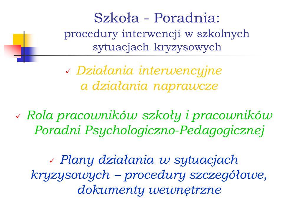 Szkoła - Poradnia: procedury interwencji w szkolnych sytuacjach kryzysowych Działania interwencyjne a działania naprawcze Rola pracowników szkoły i pr