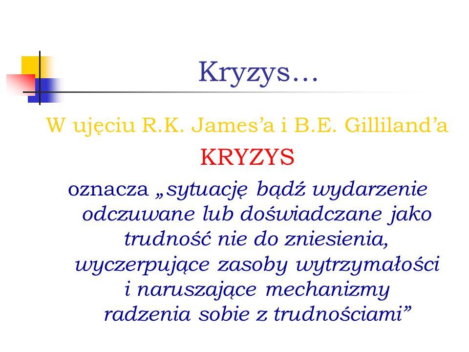 Kryzys… W ujęciu R.K. Jamesa i B.E. Gillilanda KRYZYS oznacza sytuację bądź wydarzenie odczuwane lub doświadczane jako trudność nie do zniesienia, wyc