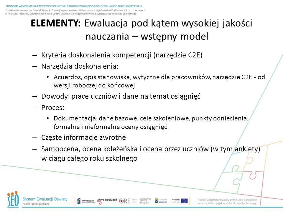 ELEMENTY: Ewaluacja pod kątem wysokiej jakości nauczania – wstępny model – Kryteria doskonalenia kompetencji (narzędzie C2E) – Narzędzia doskonalenia: