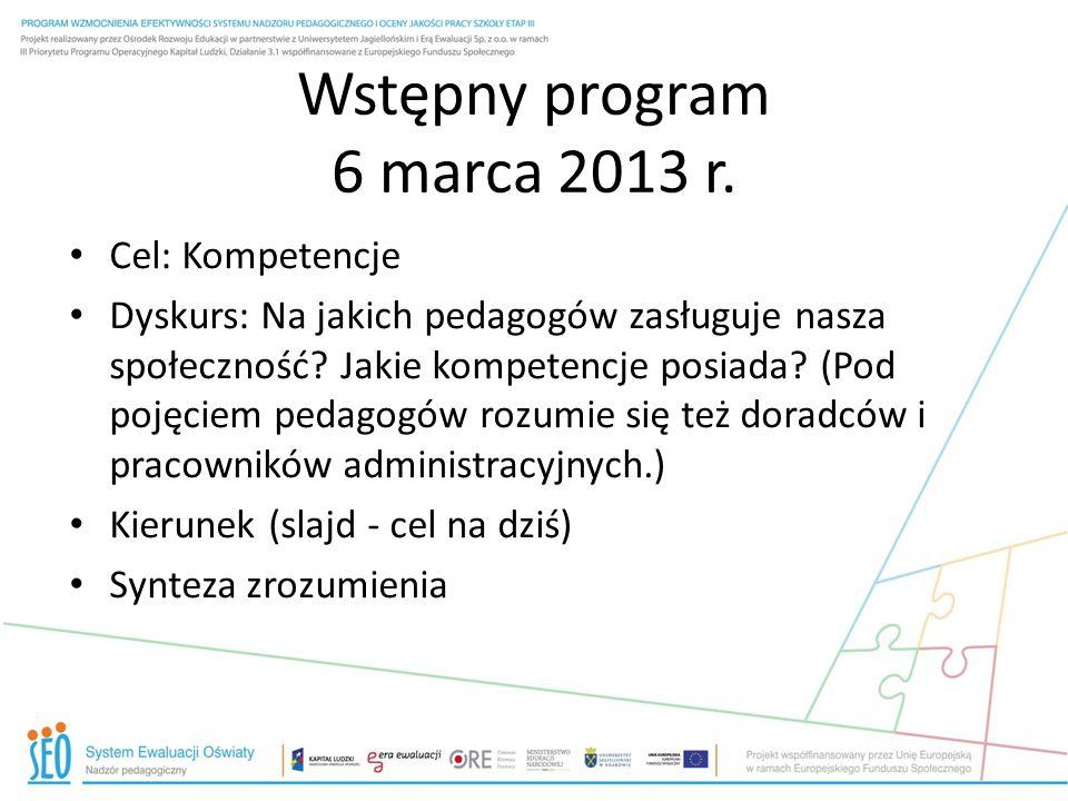 Wstępny program 6 marca 2013 r. Cel: Kompetencje Dyskurs: Na jakich pedagogów zasługuje nasza społeczność? Jakie kompetencje posiada? (Pod pojęciem pe