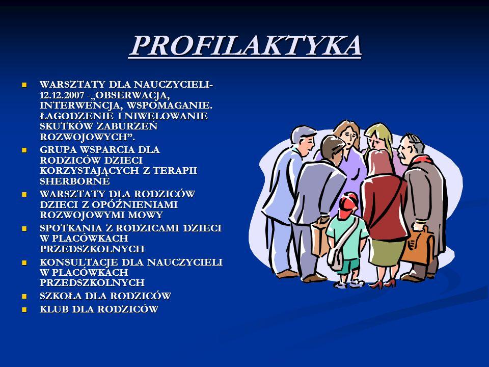 PROFILAKTYKA WARSZTATY DLA NAUCZYCIELI- 12.12.2007 -OBSERWACJA, INTERWENCJA, WSPOMAGANIE. ŁAGODZENIE I NIWELOWANIE SKUTKÓW ZABURZEŃ ROZWOJOWYCH. WARSZ