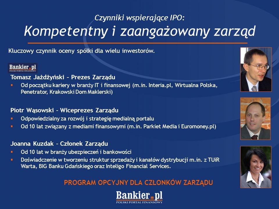 Czynniki wspierające IPO: Kompetentny i zaangażowany zarząd Kluczowy czynnik oceny spółki dla wielu inwestorów. Tomasz Jażdżyński – Prezes Zarządu Od
