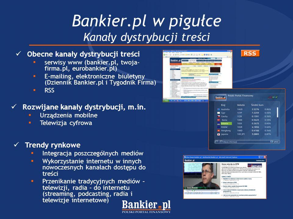 Bankier.pl w pigułce Kanały dystrybucji treści Obecne kanały dystrybucji treści serwisy www (bankier.pl, twoja- firma.pl, eurobankier.pl) E-mailing, e