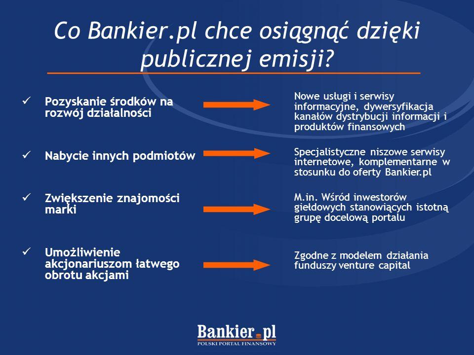 Co Bankier.pl chce osiągnąć dzięki publicznej emisji? Pozyskanie środków na rozwój działalności Nabycie innych podmiotów Zwiększenie znajomości marki