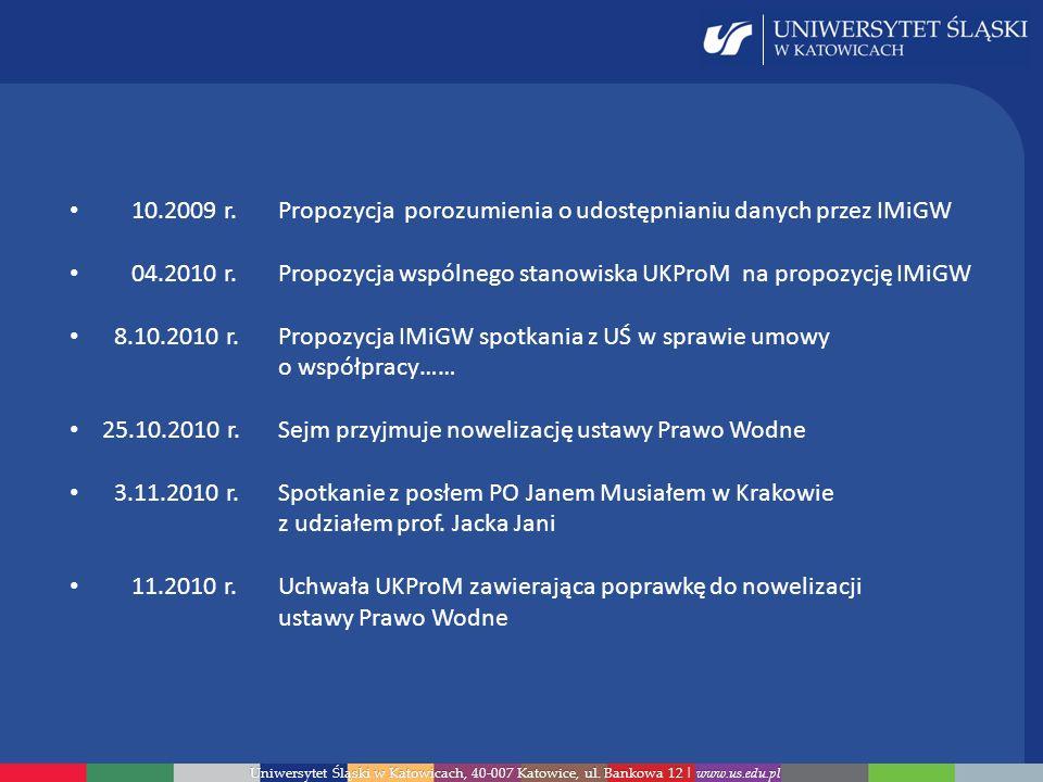 Uniwersytet Śląski w Katowicach, 40-007 Katowice, ul. Bankowa 12 | www.us.edu.pl 10.2009 r.Propozycja porozumienia o udostępnianiu danych przez IMiGW