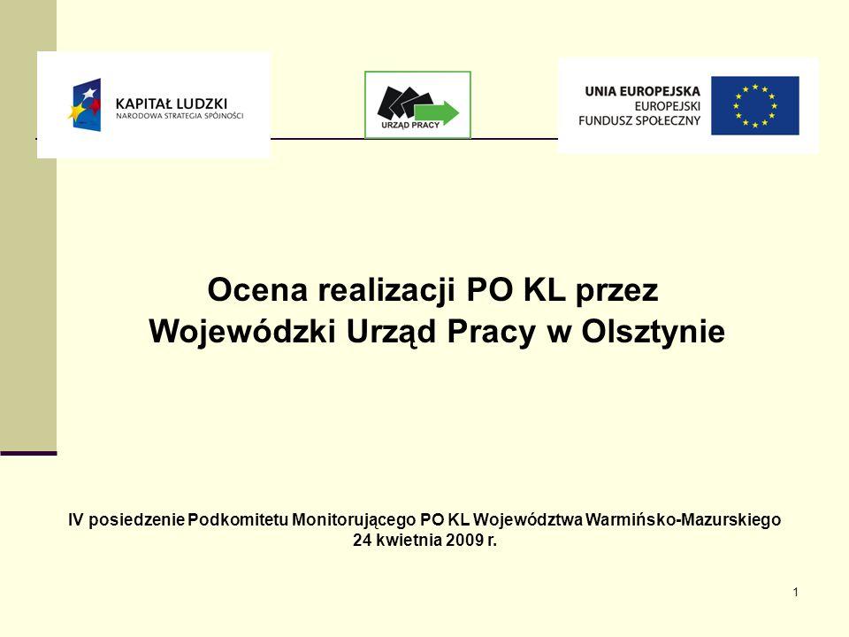 1 Ocena realizacji PO KL przez Wojewódzki Urząd Pracy w Olsztynie IV posiedzenie Podkomitetu Monitorującego PO KL Województwa Warmińsko-Mazurskiego 24 kwietnia 2009 r.