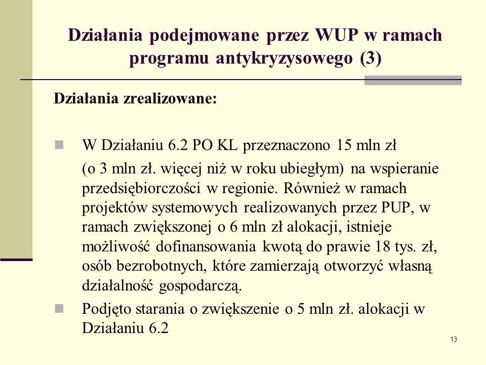 13 Działania podejmowane przez WUP w ramach programu antykryzysowego (3) Działania zrealizowane: W Działaniu 6.2 PO KL przeznaczono 15 mln zł (o 3 mln