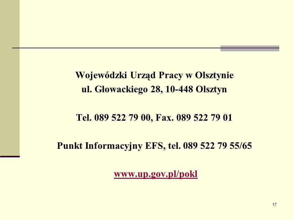 17 Wojewódzki Urząd Pracy w Olsztynie ul. Głowackiego 28, 10-448 Olsztyn Tel.