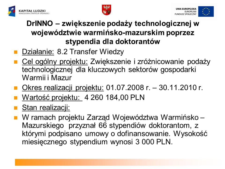 DrINNO – zwiększenie podaży technologicznej w województwie warmińsko-mazurskim poprzez stypendia dla doktorantów Działanie: 8.2 Transfer Wiedzy Cel og
