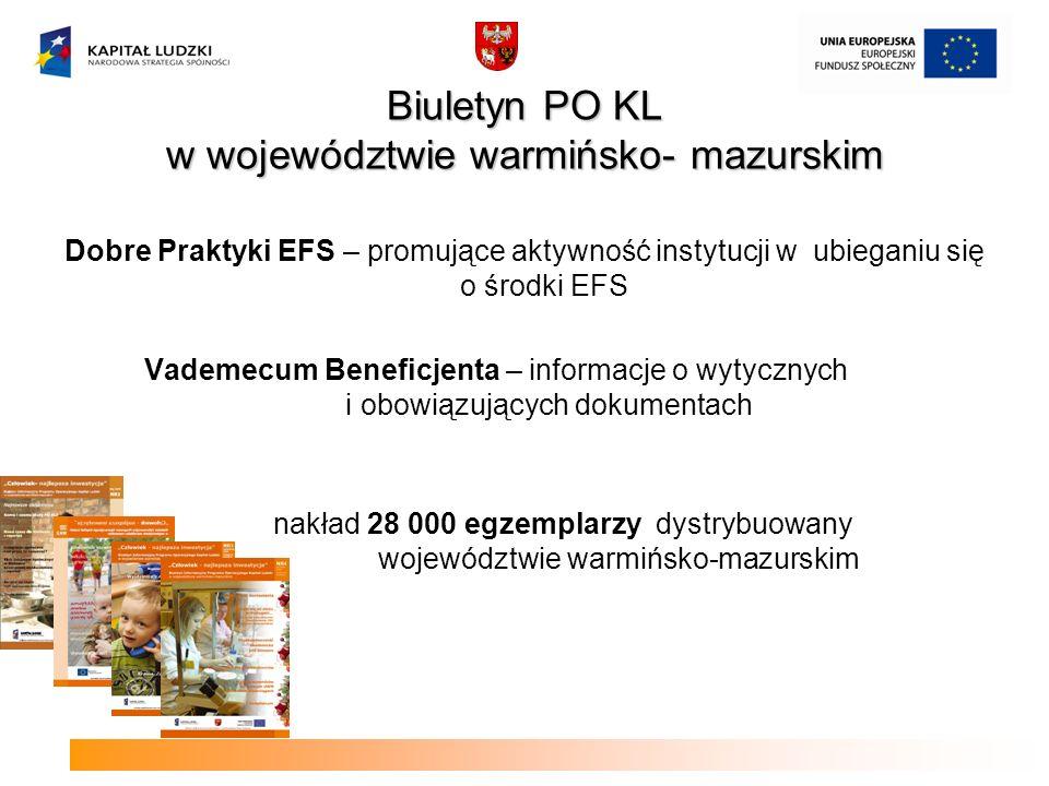 Biuletyn PO KL w województwie warmińsko- mazurskim Dobre Praktyki EFS – promujące aktywność instytucji w ubieganiu się o środki EFS Vademecum Beneficj