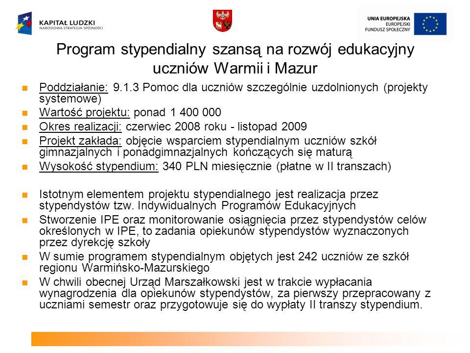 Program stypendialny szansą na rozwój edukacyjny uczniów Warmii i Mazur Poddziałanie: 9.1.3 Pomoc dla uczniów szczególnie uzdolnionych (projekty syste