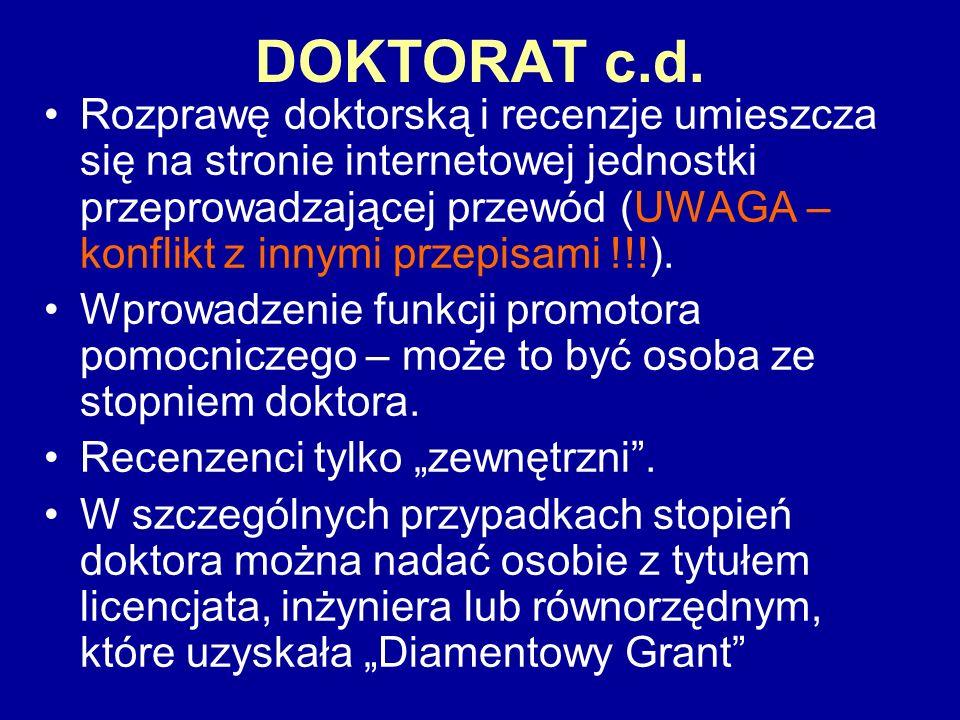 DOKTORAT c.d. Rozprawę doktorską i recenzje umieszcza się na stronie internetowej jednostki przeprowadzającej przewód (UWAGA – konflikt z innymi przep