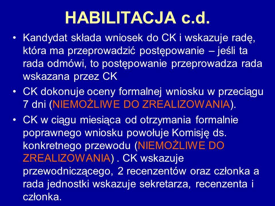HABILITACJA c.d. Kandydat składa wniosek do CK i wskazuje radę, która ma przeprowadzić postępowanie – jeśli ta rada odmówi, to postępowanie przeprowad