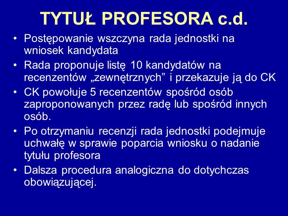 TYTUŁ PROFESORA c.d.