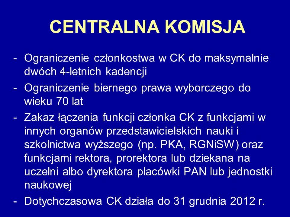 CENTRALNA KOMISJA -Ograniczenie członkostwa w CK do maksymalnie dwóch 4-letnich kadencji -Ograniczenie biernego prawa wyborczego do wieku 70 lat -Zaka