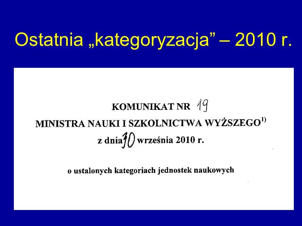 Ostatnia kategoryzacja – 2010 r.