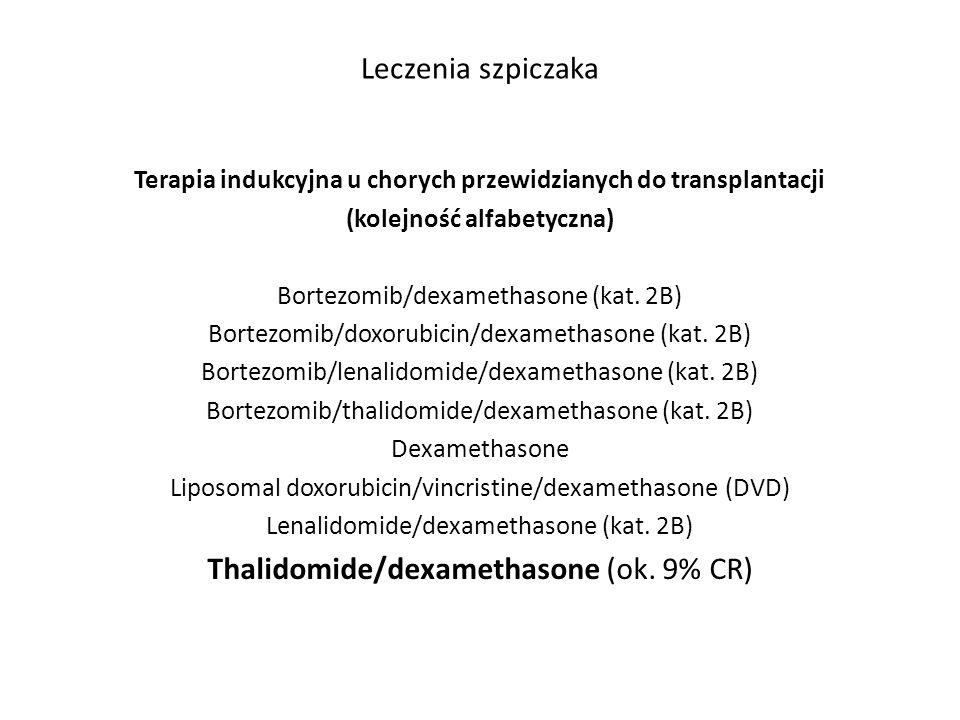 Leczenia szpiczaka Terapia indukcyjna u chorych przewidzianych do transplantacji (kolejność alfabetyczna) Bortezomib/dexamethasone (kat. 2B) Bortezomi