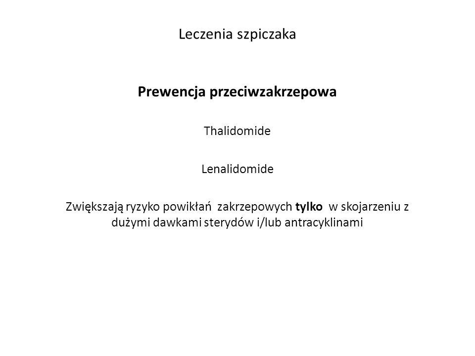 Leczenia szpiczaka Prewencja przeciwzakrzepowa Thalidomide Lenalidomide Zwiększają ryzyko powikłań zakrzepowych tylko w skojarzeniu z dużymi dawkami sterydów i/lub antracyklinami