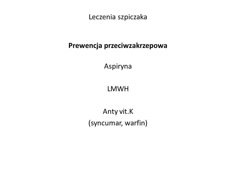 Leczenia szpiczaka Prewencja przeciwzakrzepowa Aspiryna LMWH Anty vit.K (syncumar, warfin)