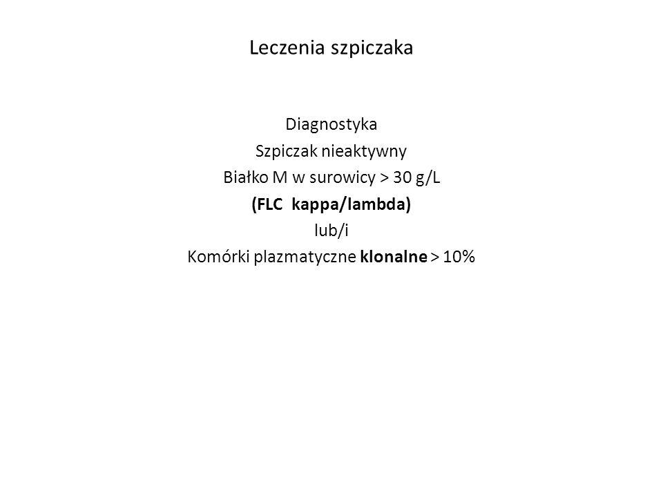 Leczenia szpiczaka Szpiczak aktywny: (jedno kryterium lub więcej) Poziom wapnia > 11,5 g/dL Kreatynina > 2mg/dL Anemia < 10 g lub 2g < normy (poziom żelaza) Zmiany kostne C R A B