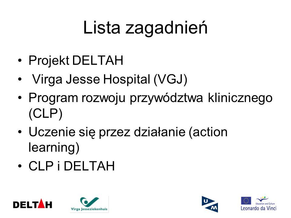 Projekt DELTAH DELTAH = Delivering European Leadership Through Action Learning in Healthcare (Kształtowanie Przywództwa w Europie poprzez Action Learning) Trzyletni projekt badawczy finansowany ze środków Unii Europejskiej Cel: opracowanie programu rozwoju przywództwa dla organizacji zajmującej się ochroną zdrowia w Europie