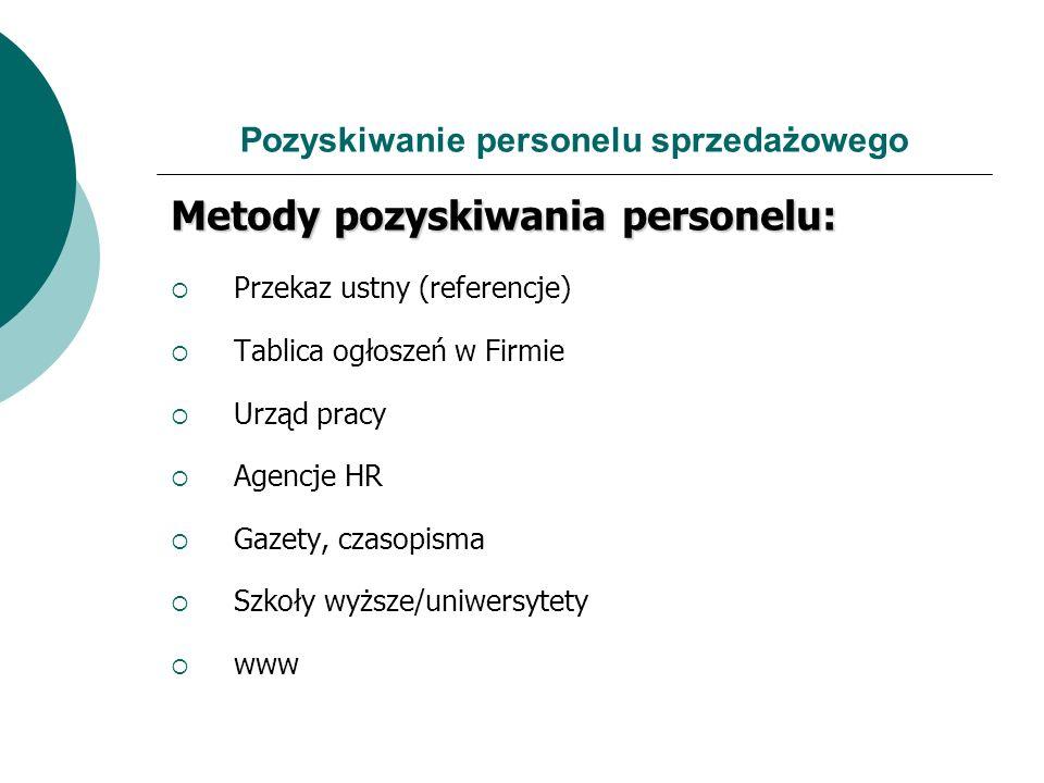 Pozyskiwanie personelu sprzedażowego Metody pozyskiwania personelu: Przekaz ustny (referencje) Tablica ogłoszeń w Firmie Urząd pracy Agencje HR Gazety