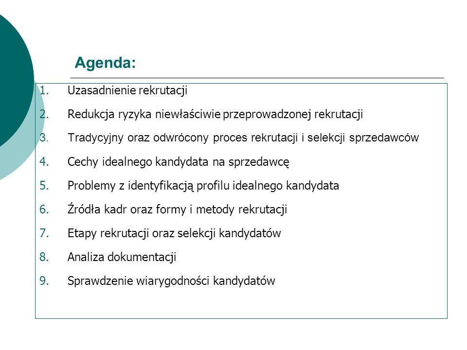 Agenda: 1.Uzasadnienie rekrutacji 2.Redukcja ryzyka niewłaściwie przeprowadzonej rekrutacji 3.Tradycyjny oraz odwrócony proces rekrutacji i selekcji s