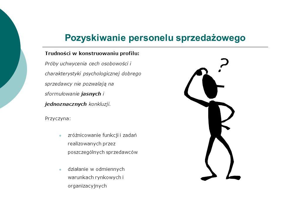 Pozyskiwanie personelu sprzedażowego Trudności w konstruowaniu profilu: Próby uchwycenia cech osobowości i charakterystyki psychologicznej dobrego spr