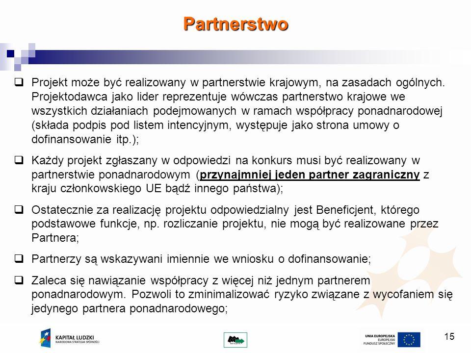 15 Projekt może być realizowany w partnerstwie krajowym, na zasadach ogólnych. Projektodawca jako lider reprezentuje wówczas partnerstwo krajowe we ws