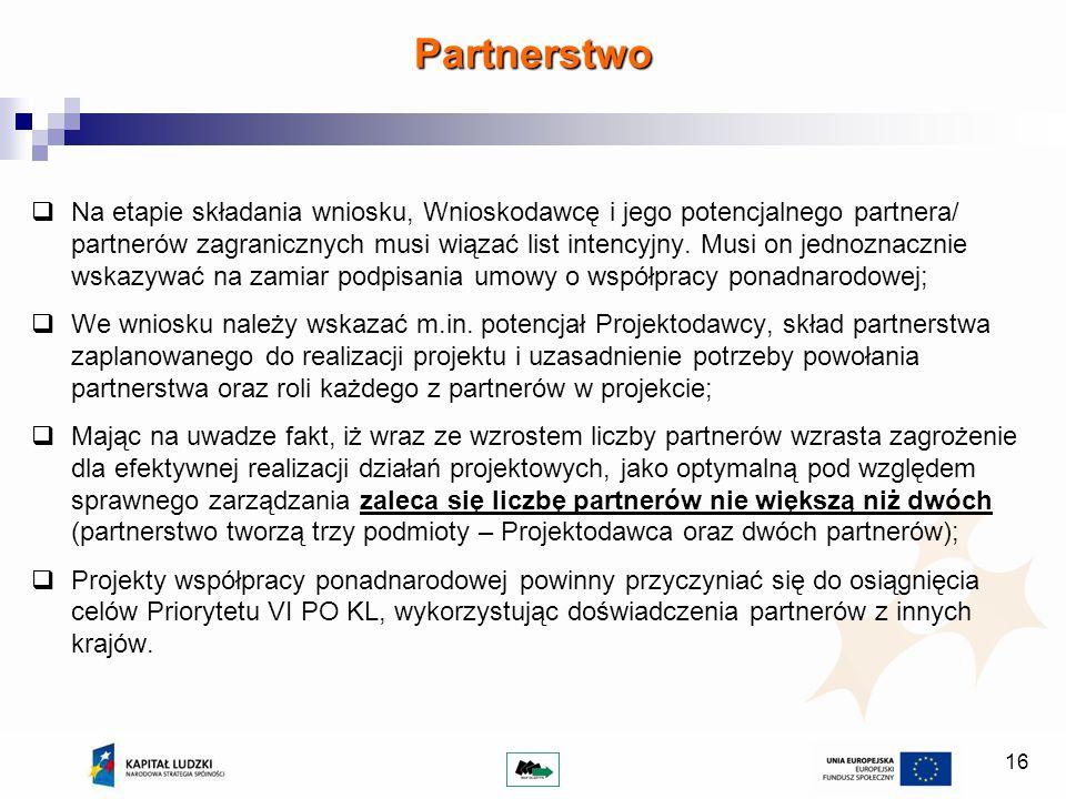 16 Na etapie składania wniosku, Wnioskodawcę i jego potencjalnego partnera/ partnerów zagranicznych musi wiązać list intencyjny. Musi on jednoznacznie