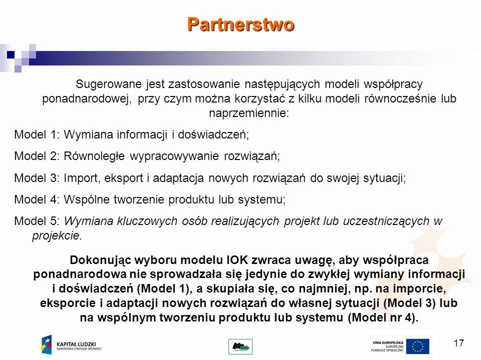 17 Sugerowane jest zastosowanie następujących modeli współpracy ponadnarodowej, przy czym można korzystać z kilku modeli równocześnie lub naprzemiennie: Model 1: Wymiana informacji i doświadczeń; Model 2: Równoległe wypracowywanie rozwiązań; Model 3: Import, eksport i adaptacja nowych rozwiązań do swojej sytuacji; Model 4: Wspólne tworzenie produktu lub systemu; Model 5: Wymiana kluczowych osób realizujących projekt lub uczestniczących w projekcie.