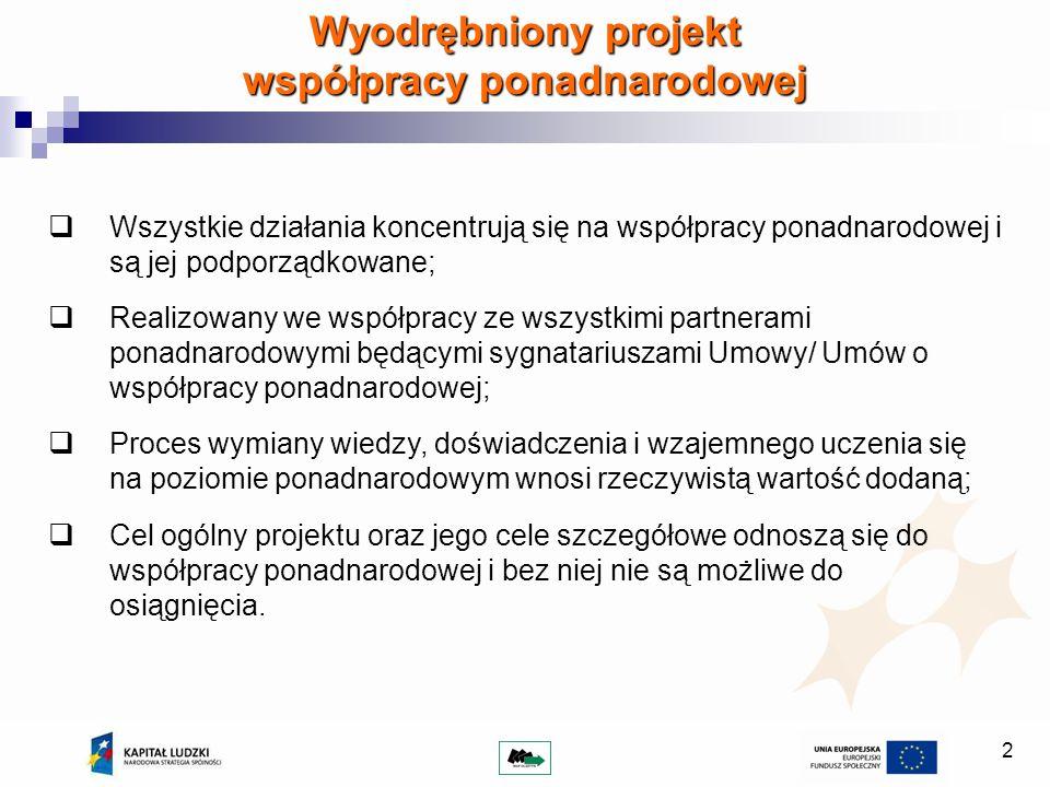 2 Wyodrębniony projekt współpracy ponadnarodowej Wszystkie działania koncentrują się na współpracy ponadnarodowej i są jej podporządkowane; Realizowan