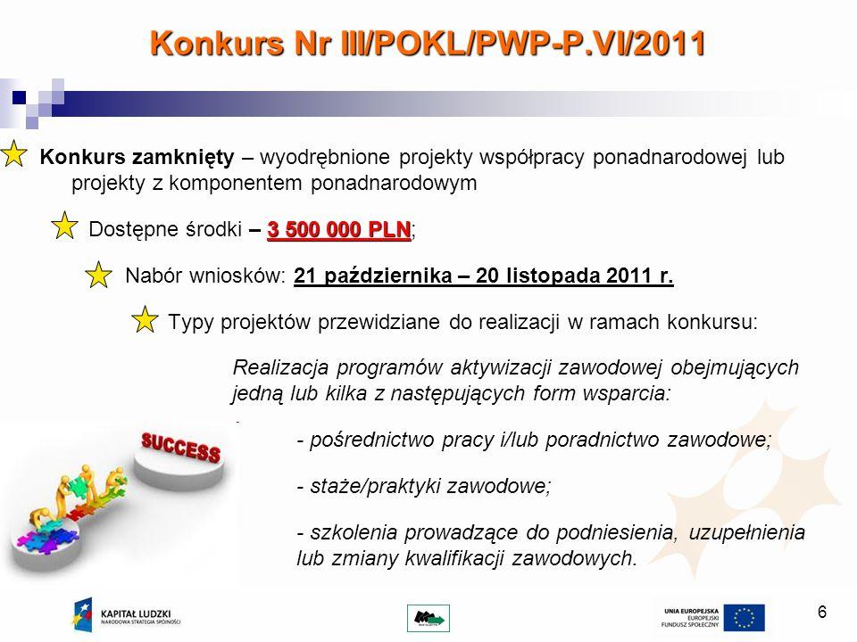 6 Konkurs zamknięty – wyodrębnione projekty współpracy ponadnarodowej lub projekty z komponentem ponadnarodowym 3 500 000 PLN Dostępne środki – 3 500
