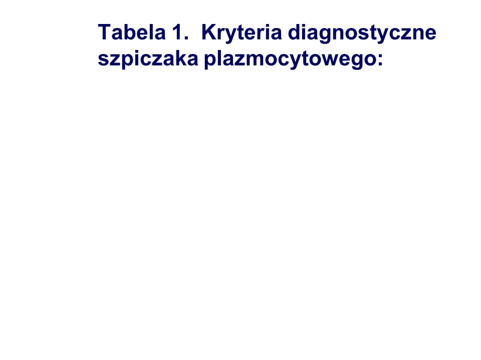 Tabela 1. Kryteria diagnostyczne szpiczaka plazmocytowego: