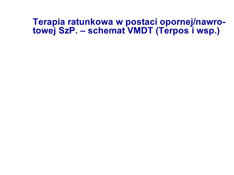 Terapia ratunkowa w postaci opornej/nawro- towej SzP. – schemat VMDT (Terpos i wsp.)