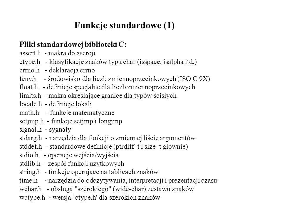 Pliki standardowej biblioteki C: assert.h - makra do asercji ctype.h - klasyfikacje znaków typu char (isspace, isalpha itd.) errno.h - deklaracja errn