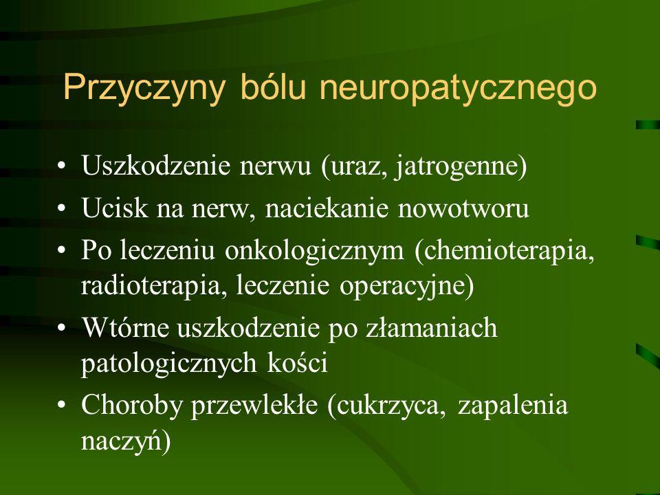 Przyczyny bólu neuropatycznego Uszkodzenie nerwu (uraz, jatrogenne) Ucisk na nerw, naciekanie nowotworu Po leczeniu onkologicznym (chemioterapia, radi