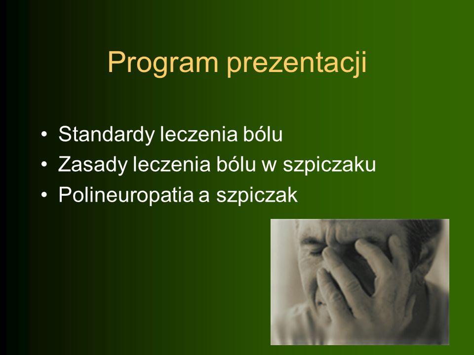 Program prezentacji Standardy leczenia bólu Zasady leczenia bólu w szpiczaku Polineuropatia a szpiczak