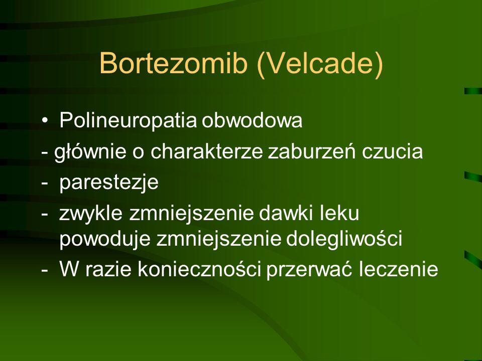 Bortezomib (Velcade) Polineuropatia obwodowa - głównie o charakterze zaburzeń czucia -parestezje -zwykle zmniejszenie dawki leku powoduje zmniejszenie