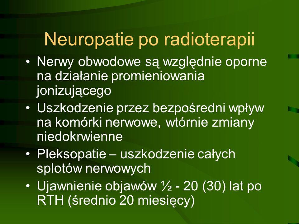 Neuropatie po radioterapii Nerwy obwodowe są względnie oporne na działanie promieniowania jonizującego Uszkodzenie przez bezpośredni wpływ na komórki