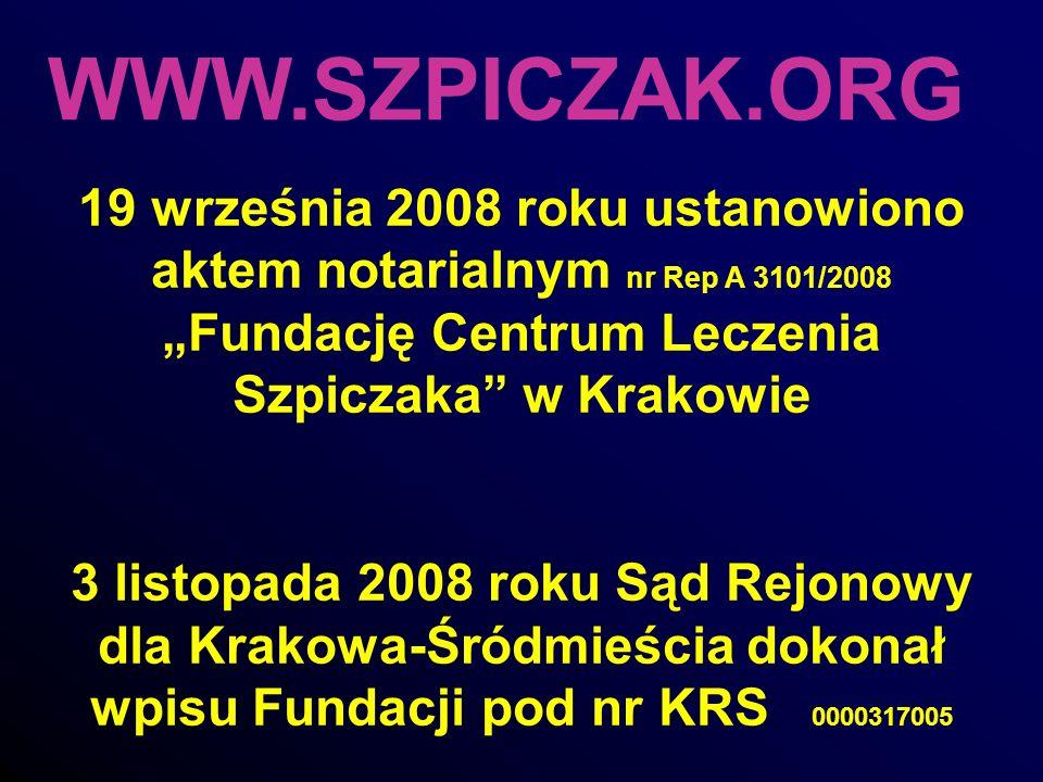 WWW.SZPICZAK.ORG 19 września 2008 roku ustanowiono aktem notarialnym nr Rep A 3101/2008 Fundację Centrum Leczenia Szpiczaka w Krakowie 3 listopada 200