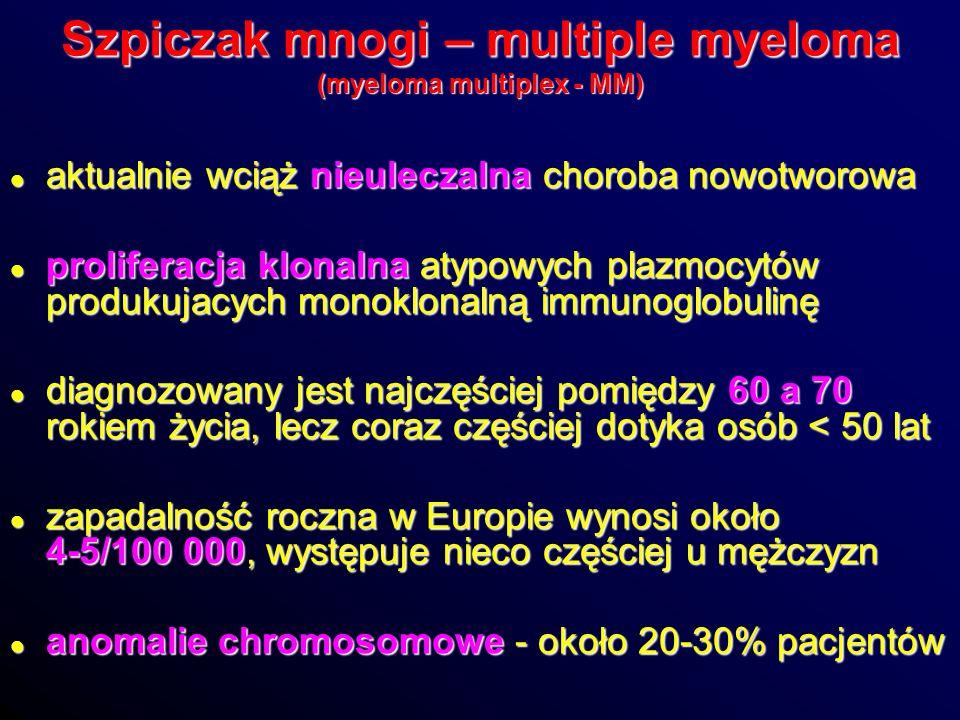 Szpiczak mnogi – multiple myeloma (myeloma multiplex - MM) aktualnie wciąż nieuleczalna choroba nowotworowa aktualnie wciąż nieuleczalna choroba nowot