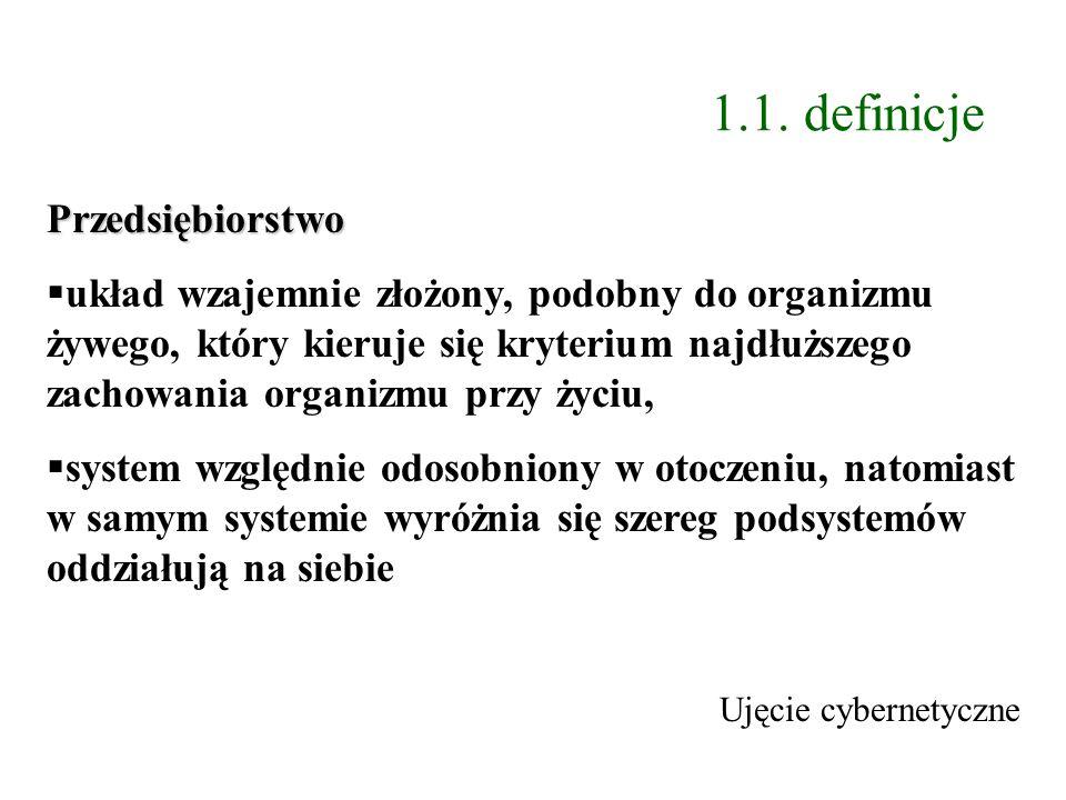 1.1. definicje Przedsiębiorstwo układ wzajemnie złożony, podobny do organizmu żywego, który kieruje się kryterium najdłuższego zachowania organizmu pr